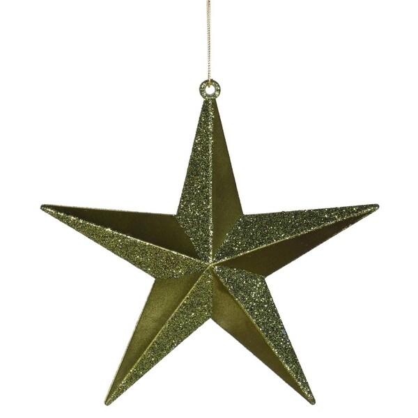 """Olive Green Matte & Glitter Shatterproof Star Christmas Ornament 6"""""""