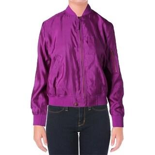 Lauren Ralph Lauren Womens Bomber Jacket Silk Long Sleeves