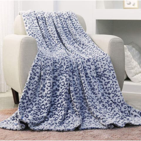 INNOVAZE Flannel Fleece Throw Blanket, Lightweight Cozy Plush Microfiber Bedspreads for Adults,Blue