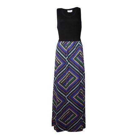 Calvin Klein Women's Geometric Chiffon Bottom Dress (M, Lagoon Combo) - lagoon combo - m