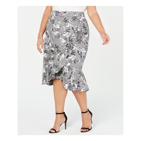 RACHEL ROY Womens Gray Asymmetrical Ruffled Bailen Pattern Mix Knee Length Wear To Work Skirt Plus Size: 18W