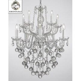 Swarovski Crystal Trimmed Chandelier Lighting with Faceted Crystal Balls