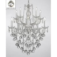Swarovski Crystal Trimmed Chandelier Lighting with Faceted Crystal Balls