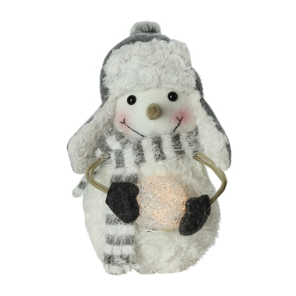 """10"""" Plush Christmas Snowman in Trapper Hat Holding Lighted Snowball - WHITE"""