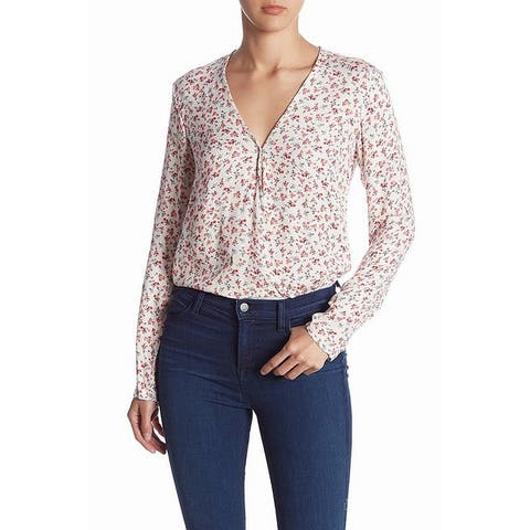 Love Fire White Womens Size Large L Floral-Print Bodysuit Blouse