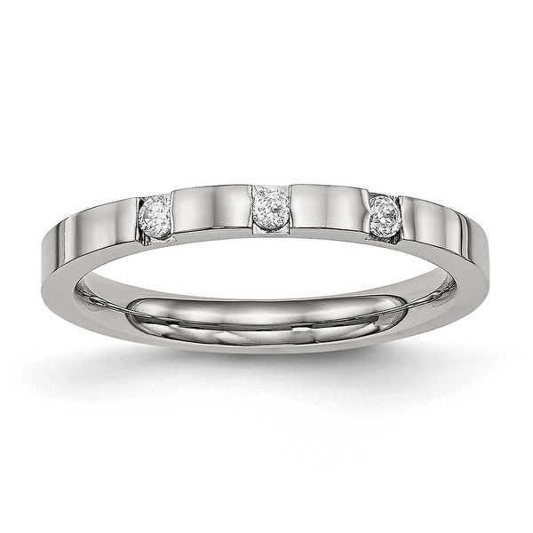 Stainless Steel Polished 3 Stone CZ 2.5 mm Band Ring