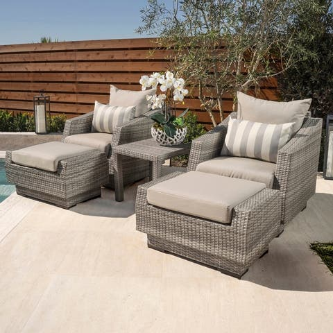 Cannes 5-piece Club Chair, Ottomans and Side Table By RST Brands