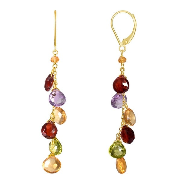 2.83 Bezel Set Multi Quartz Round Cut Stone Earrings  18k Gold Plated Earrings  Four Gemstone Earrings  Gift Idea  Wedding Jewelry BZ29