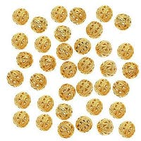 22K Gold Plated Filigree 8mm Round Beads (100)