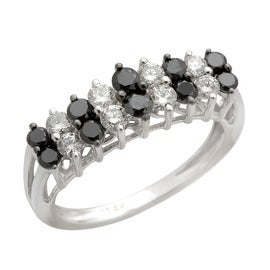 Fabulous 1.00 Carat Round Brilliant Cut Natural Black Diamond With Real Diamond Designer Ring. 14k White Gold