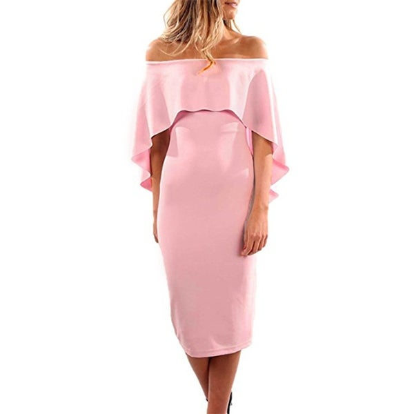 Shop Women Luxurious Off Shoulder Batwing Cape Midi Dress - Free Shipping  On Orders Over  45 - Overstock.com - 27110839 fc81518c4c5e
