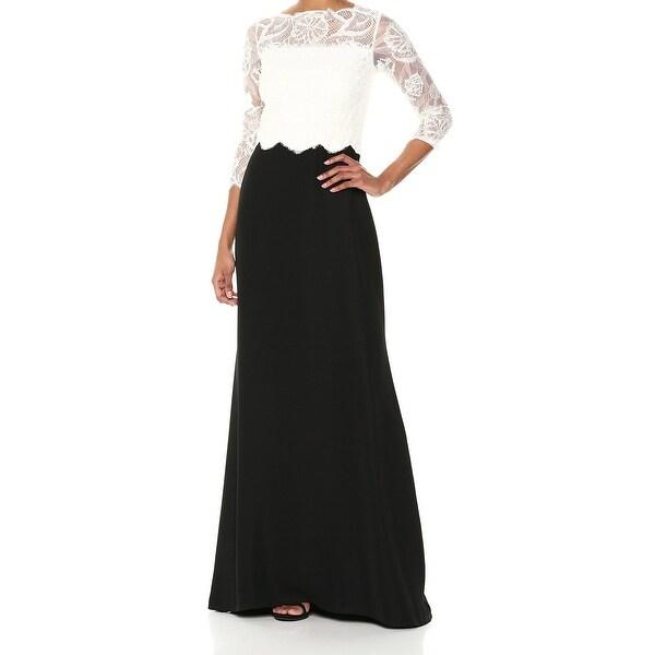 Tadashi Shoji Black White Womens Size 10 Lace Yoke Contrast Gown