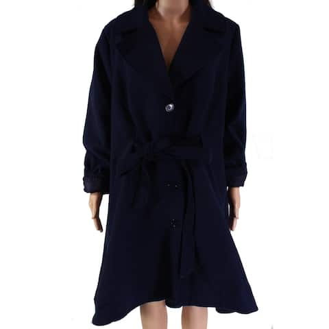 City Chic Women's Coat Navy Blue Size 20W Plus Frill Back Tie-Waist
