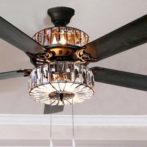 """Silver Orchid March Caged Crystal Ceiling Fan - 52""""L x 52""""W x 18""""H"""