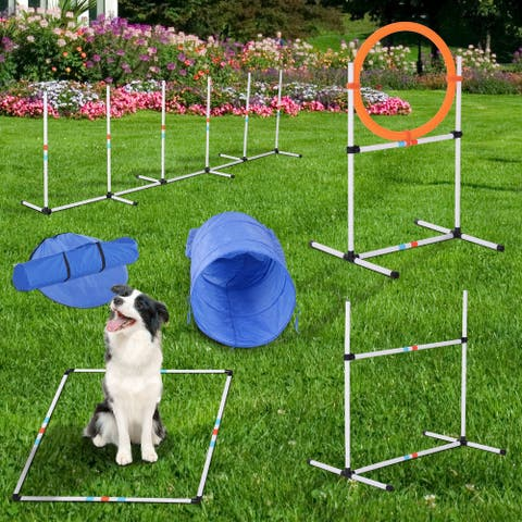Pawhut 5-piece Outdoor Dog Agility Training Equipment Set