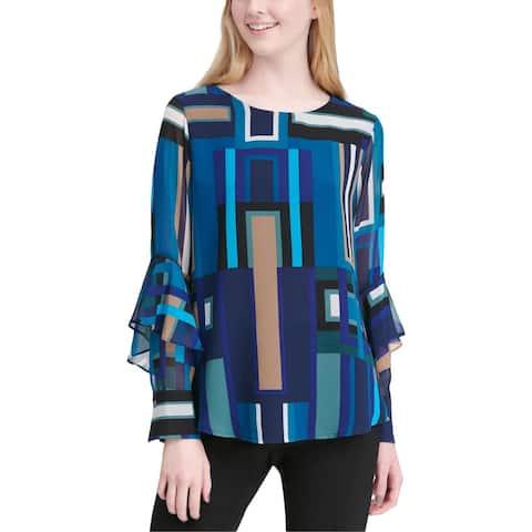 Calvin Klein Womens Blouse Printed Ruffle Sleeves