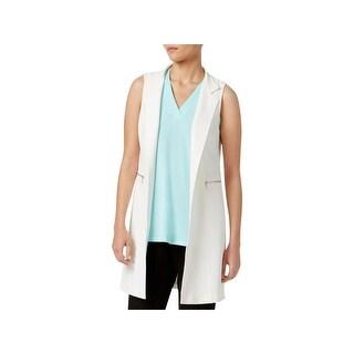 Calvin Klein Womens Vest Open Front Zipper Pockets