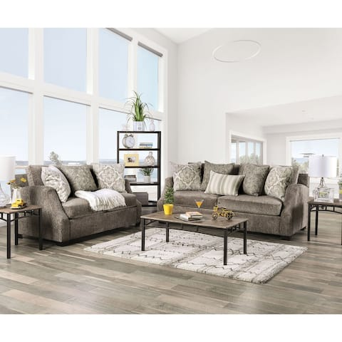 Furniture of America Blik Transitional Chenille 2-piece Living Room Set