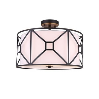 """Woodbridge Lighting 17135-S117A1 Regan 3 Light 17"""" Wide Drum Style Semi-Flush Ceiling Fixture with Fabric Shade and Metal Cage"""