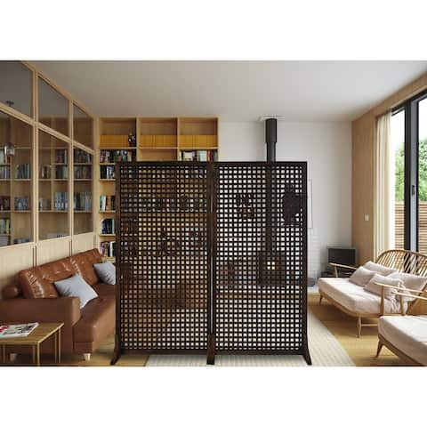 """36"""" W x 72"""" H Solid Wood Privacy Screen Room Divider With Wood Stand - Set of 2pc"""