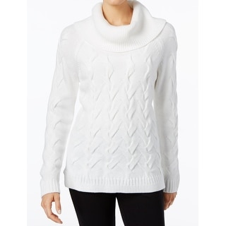 Calvin Klein NEW White Womens Size Large L Cable Knit Cowl Neck Sweater