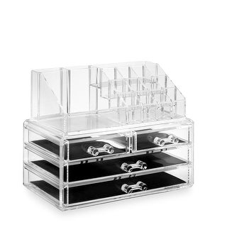 2pc Acrylic Cosmetic Makeup Organizer & Jewelry Drawer Storage Box Display Case - Clear