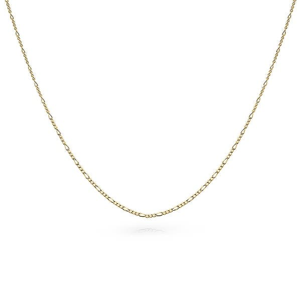 Shop Figaro Chain 40 Gauge Necklace Gold Plated 925 Sterling Silver Overstock 17996552