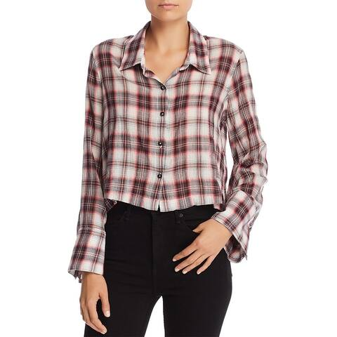 Splendid Womens Button-Down Top Plaid Cropped - Red/Natural