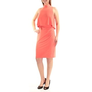 Womens Coral Sleeveless Knee Length Party Dress Size: 8