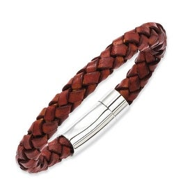 Stainless Steel Brown Leather 8.5in Bracelet