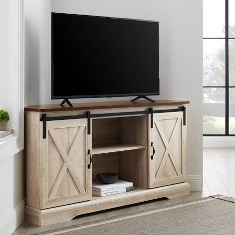 The Gray Barn 52-Inch Sliding Barn Door Corner TV Console