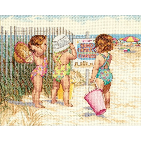 "Beach Babies Counted Cross Stitch Kit-14""X11"" 14 Count"