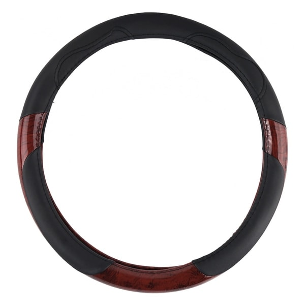 KM World Black 14.5-15 Inch PU Leather and Dark Wood Design Steering Wheel Cover With Precise Hand Placements, Fits Chevy Camaro