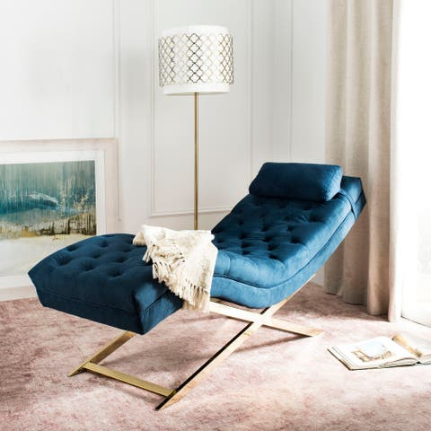 SAFAVIEH Monroe Navy/ Gold Chaise with Round Pillow - 65' x 23' x 33'