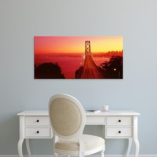 Easy Art Prints Panoramic Images's 'USA, California, San Francisco, Bay Bridge, night' Premium Canvas Art