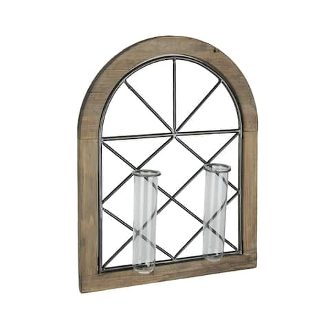 Cathedral Style Wall Flower Sconce With Dual Glass Bud Vases - 3.25 X 19.25 X 15 inches