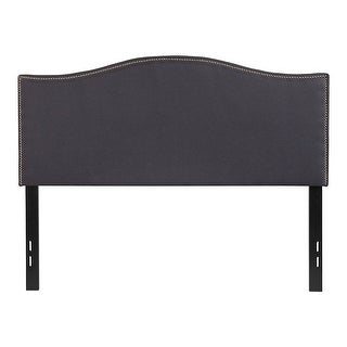Offex Upholstered Full Size Headboard with Accent Nail Trim in Dark Gray Fabric