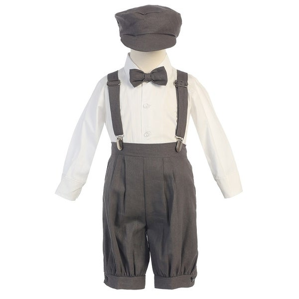 98fc14e504f8b Baby Boys Charcoal Suspenders Short Pants Hat Easter Outfit Set 3-24M
