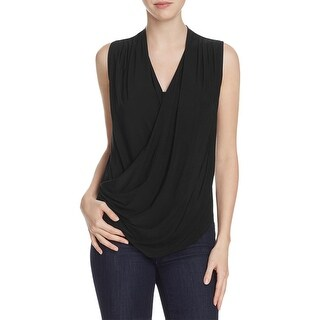 Nic + Zoe Womens Wrap Top Ruched Sleeveless