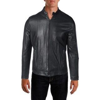 Calvin Klein Mens Motorcycle Jacket Faux Leather Full-Zip