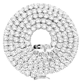 """Designer Tennis Link 22"""" Chain Simulated Diamonds 925 Sterling Silver Classy Look"""