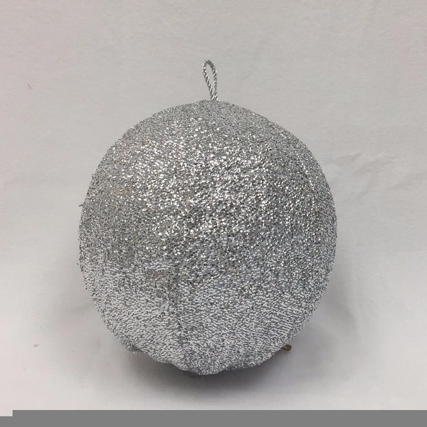 "15"" Sparkly Silver Inflatable Tinsel Ball Commercial Christmas Ornament"