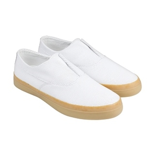 HUF Dylan Slip On Mens White Leather Casual Dress Slip On Loafers Shoes