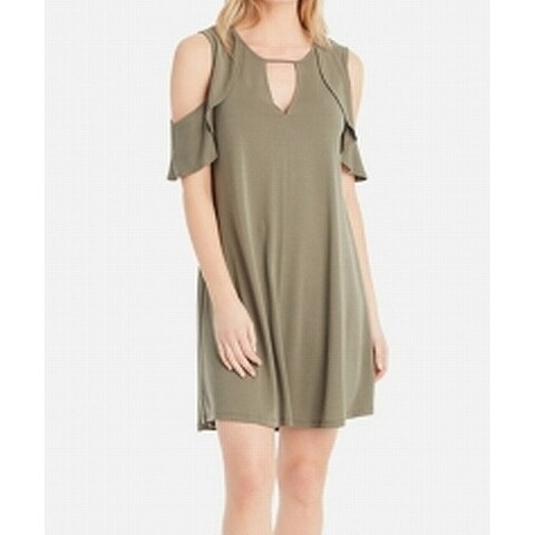 Jessica Simpson Green Womens Size XS Cold-Shoulder Shift Dress