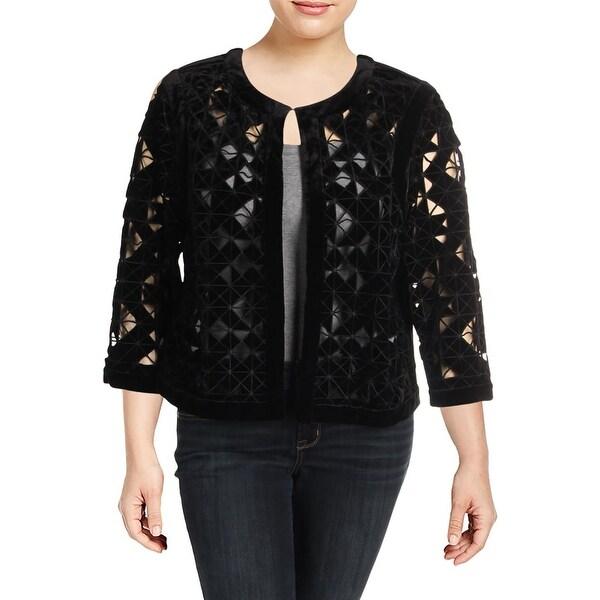 Tahari ASL Womens Plus Collarless Blazer Velvet 3/4 Sleeves