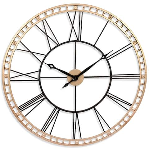 The Tower XXL Large Open Face Metal Wall Clock 39 inch - Black and Gold II