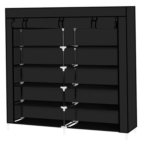 6 Tiers Portable Shoe Rack Closet Fabric Cover Shoe Storage Organizer Cabinet