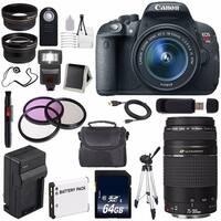 Canon EOS Rebel T5i 18 MP CMOS Digital SLR Camera w/EF-S 18-55mm f/3.5-5.6 Lens (International Model) Bundle (AF6CANONT5IB182)