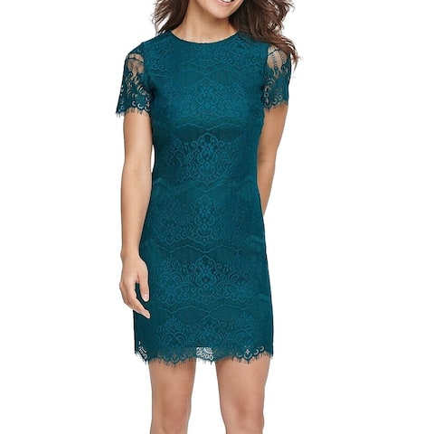 Ke0sie Womens Sheath Dress Emerald Green Size 14 Floral Lace Illusion