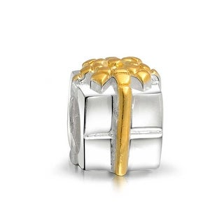 Bling Jewelry Birthday Present Gift Box Charm With Bow Bead Gold Plated 925 Sterling Silver